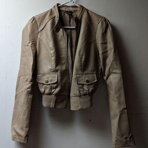 Faux leather beige cropped jacket